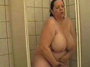 Plumpy wife in the shower