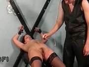 Master punishing his slave and jerking off