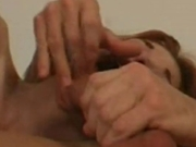Redhead gets excited by gagging on dick