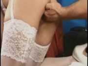 Brunette mature & two cocks (fisting classic)