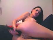 Anal dildo on webcam
