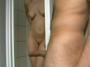 Horny Cheating Wife Shower Blowjob and Facial