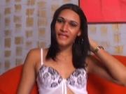 Horny Latina tranny babe get fucked by a hard cock.