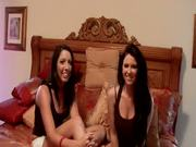 Two Randy Lesbian Babes Eating Pussy and Sharing a Double Ended Dildo