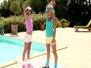Sporty sirens seduced each other on the poolside