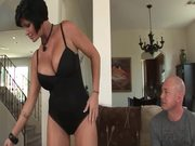 Horny and busty brunette milf asks this guy for a favor