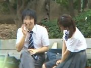 Teen schoolgirl gets threesomed and creampied outdoors