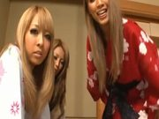 Three hot Japanese babes in kimonos please one cock
