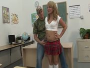 Casey Cumz enjoys hot double penetration in the classroom