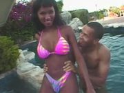 Gorgeous slim ebony Kasorn Swan gets fucked on the poolside