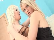 Two lovely blonde girls getting fucked nicely