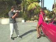 Ebony whore India leans against a car to get her ass fucked from behind