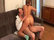 Slutty Oksana asks her teacher to drill her fresh pussy