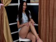 Sizzling brunette nurse Penelopa sticks a thick dildo in her pussy