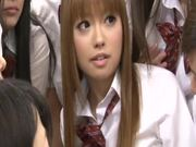 Slutty Japanese schoolgirls suck dicks right in the classroom