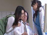 Anju Natsuki and Azumi Mizushima fuck a guy and get cum on their faces