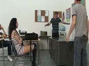 Slutty brunette college girl gets gangbanged in class room