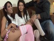 Two brunette Transsexual Babysitters getting fucked