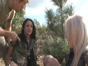 Two hot babes allow the insatiable stud Rocco drill their assholes