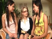 Two hot chicks Karina and Mandy learn how to be lesbians