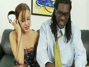 Mae Meyers sucks a big black cock and welcomes it in her pussy