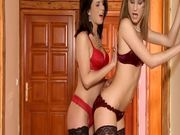 Watch these two hot babes rubbing each other's clits