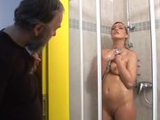Sexy Dara gets fucked by old fart after taking a shower