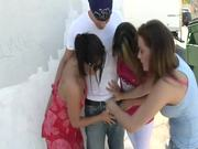 Two babes are getting in gangbang after dirty bike riding