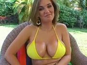 Hot babe with giant boobs and steaming up fella ready to spray his cum