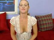 Juicy blondie gets naked and gets her tight pussy pinned