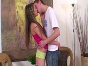 Sweet teen blond Kamila gets banged by Marek in a doggy