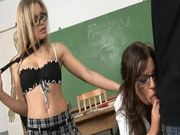 Classroom Three-way with Two Babes Wearing Glasses.