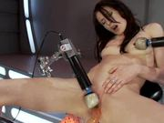 Brunette Teen Sits On Machine & Creams Her Way To Orgasm Town