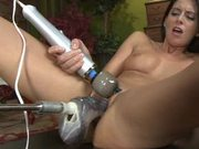 Hot Brunette Gets Pleased By A Hot Fucking Machine