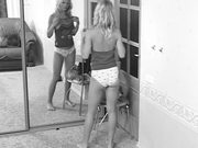 Blonde Dancing and Taking Off Her Clothes in Front of Mirror in Voyeur Vid