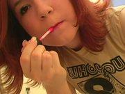Teeny Redhead Getting Ready In Bathroom