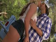 Hot Cowgirl Outdoor Deepthroat and Shaved Pussy Sex