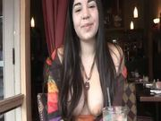 Pretty Brunette Teen with Her Big Natural Boobs Exposed in Restaurant