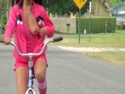 Adriana Milano Riding Bike Naked and Masturbating in the Park