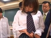 Several Cocks Bang a Japanese School Girl in the Classroom