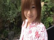 Pretty Japanese Babe Sucks and Fucks Outdoors in Thermal Waters