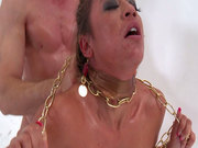 Ugly as hell Mia Lelani gets brutally fucked from behind being neck chained