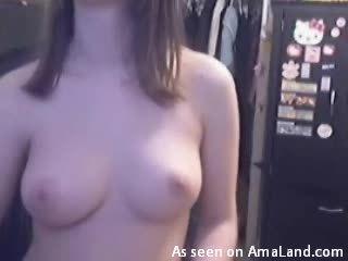 Homemade video of salacious babe with big natural boobs
