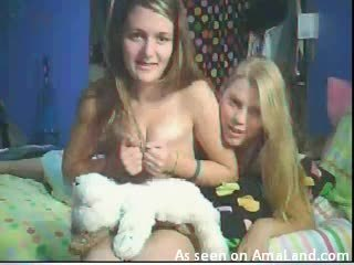 Two teens showing off their tits, bouncy asses and tight pussies