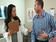 Horny doctor Asa Akira examines and pleases a stiff tool