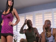 Two black cocks polish the mouth of busty brunette Sienna West