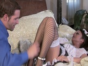 Awesome maid Kaylani Lei sucks a cock and gets fucked mish