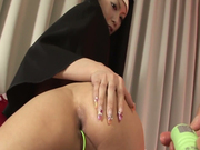Unholy nun Rika Sakurai sucks the dick deepthroat and gets pounded hard from behind