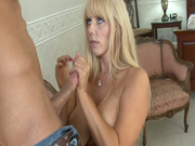 Busty mommy Karen Fisher sucks balls and blows huge dick