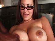 Big black cock cums on Salena Castro's huge boobs